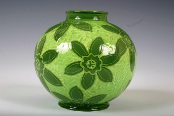 19: Gustavsberg Green Flower Vase by Ekberg c1904