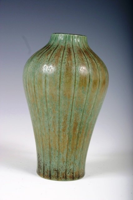 21: Signed Green Rostrand Incised Stoneware Vase