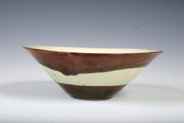 25: David Leach Attrib. White & Brown Ceramic Bowl