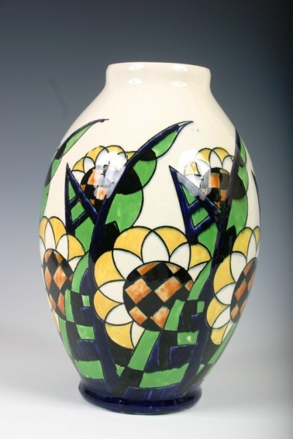 26: Boch Freres Art Deco Vase with Flowers c1925