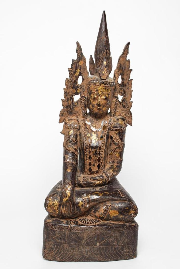 Burmese Mandalay Carved Wood Seated Buddha