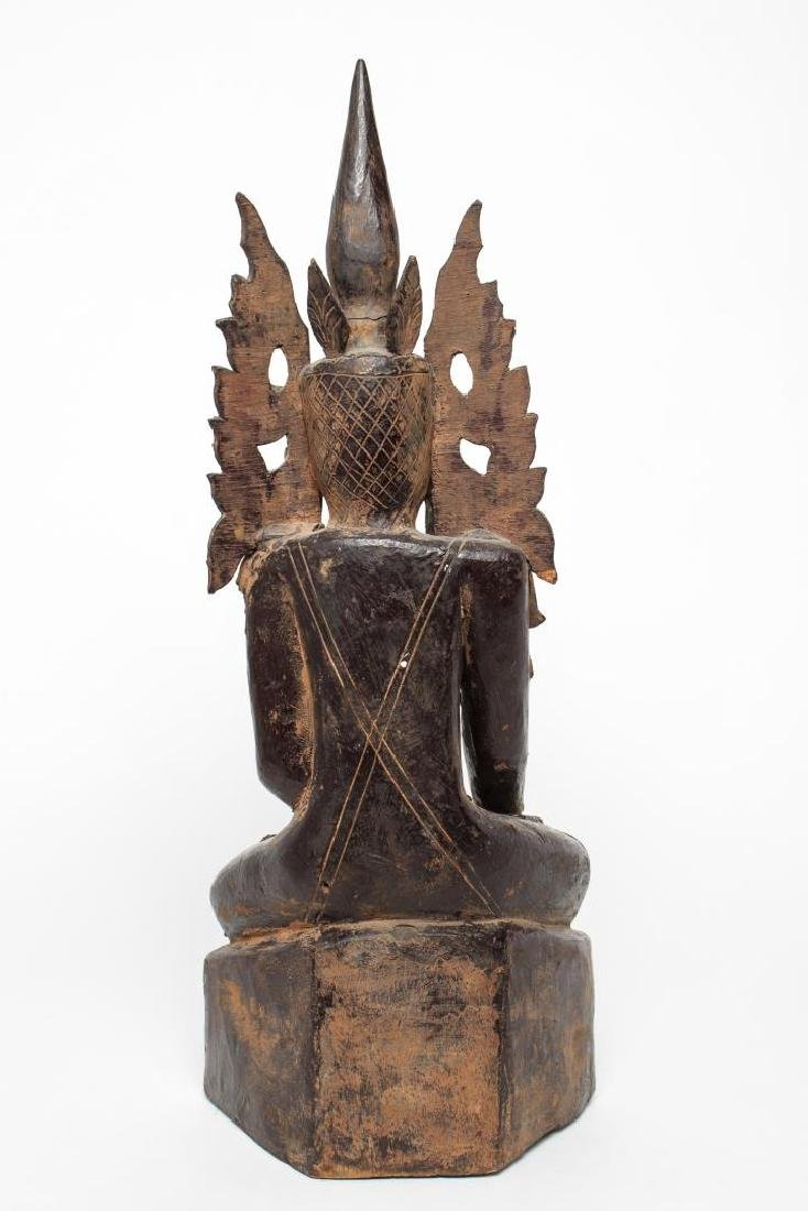 Burmese Mandalay Carved Wood Seated Buddha - 4