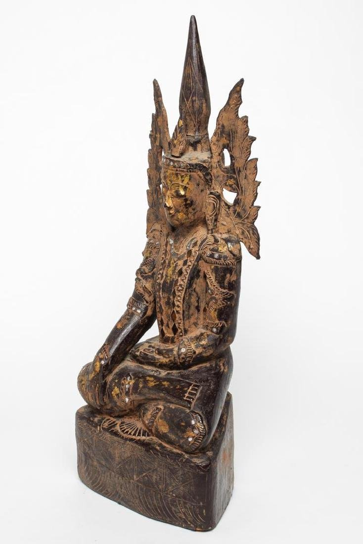 Burmese Mandalay Carved Wood Seated Buddha - 5