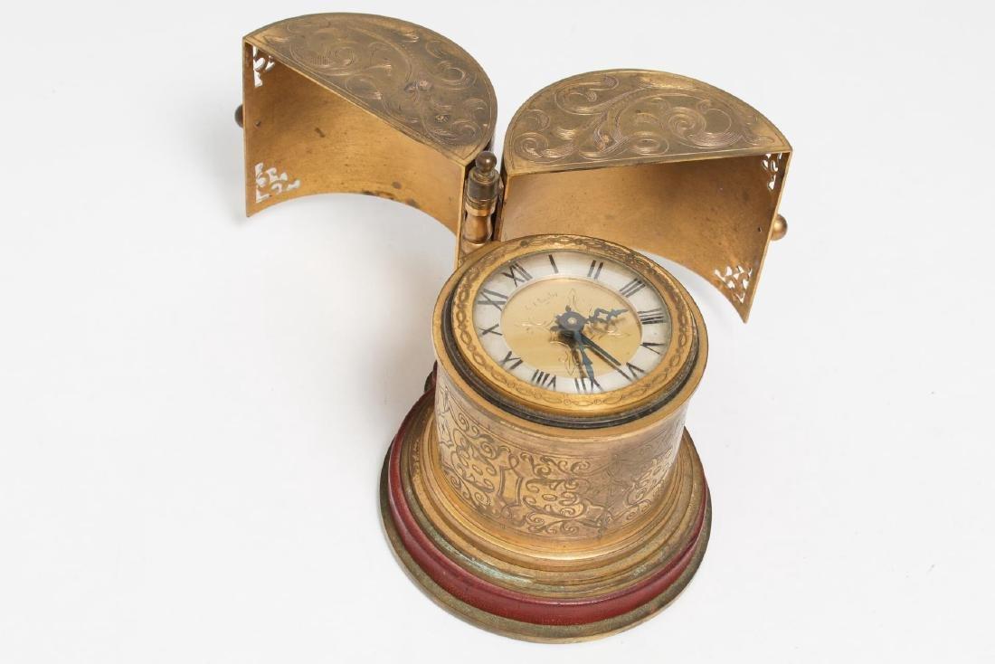 Angelus Swiss Alarm Clock in Gilt Bronze, 15-Jewel