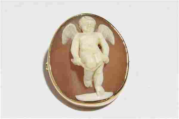 Victorian Shell Cameo of Cupid, in 14K Gold Brooch