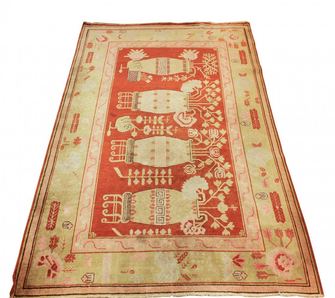 """Chinese Art Deco Woven Rug- 5' 9"""" X 9"""""""