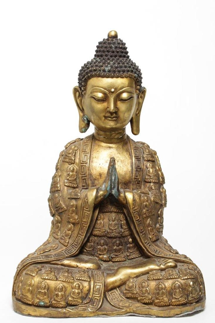 Tibetan Gilt Bronze Buddha Figure, in Anjali Mudra