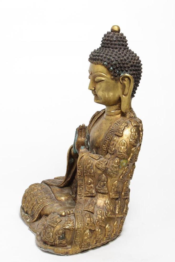 Tibetan Gilt Bronze Buddha Figure, in Anjali Mudra - 4