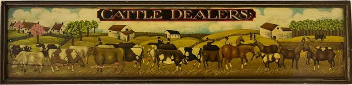 "Folk Art ""Cattle Dealers"" Americana Store Sign"