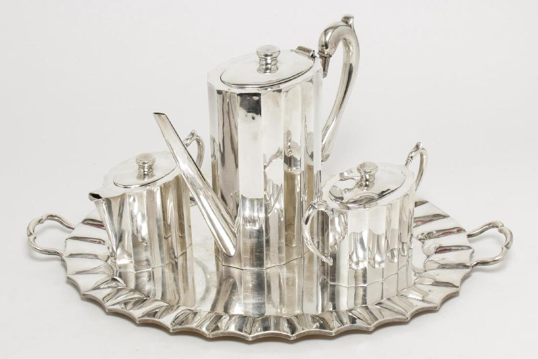 Mexican Silver Coffee Set Signed J. Rivaso, & Tray
