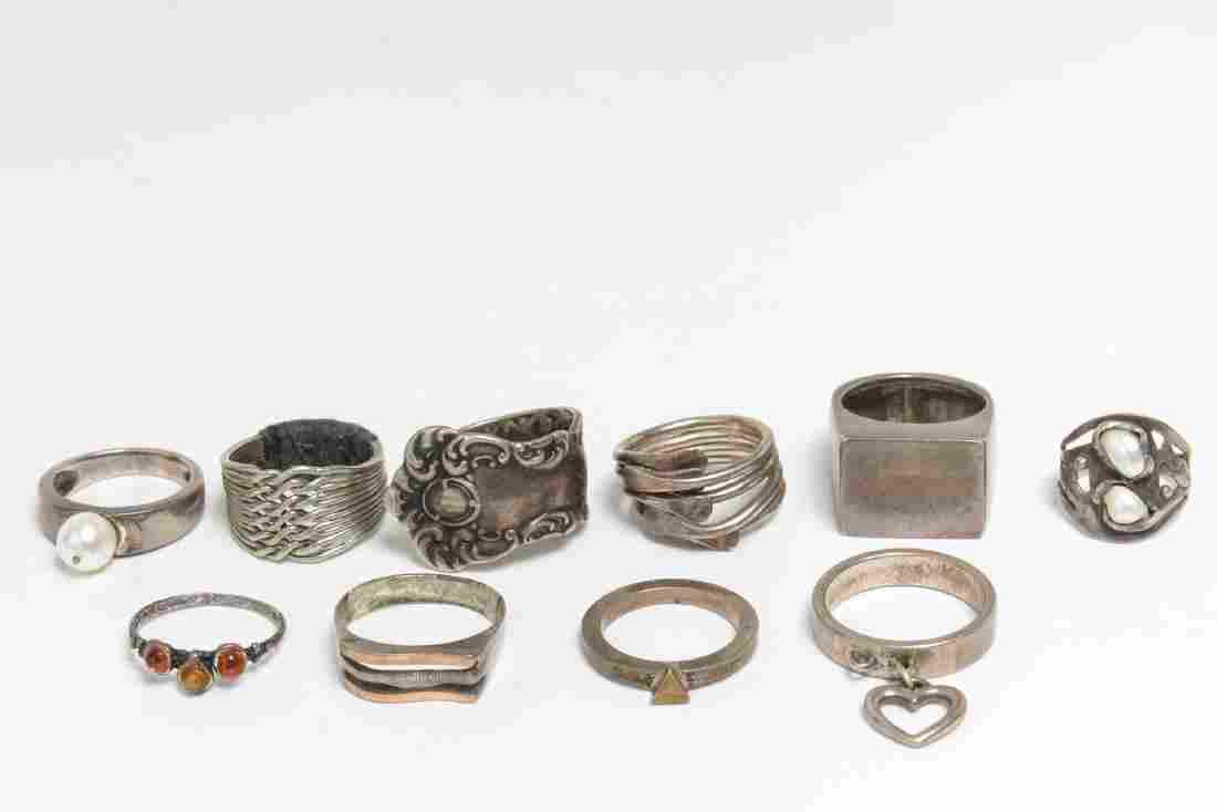 Modernist Silver Rings, 10 Woman's & Child's