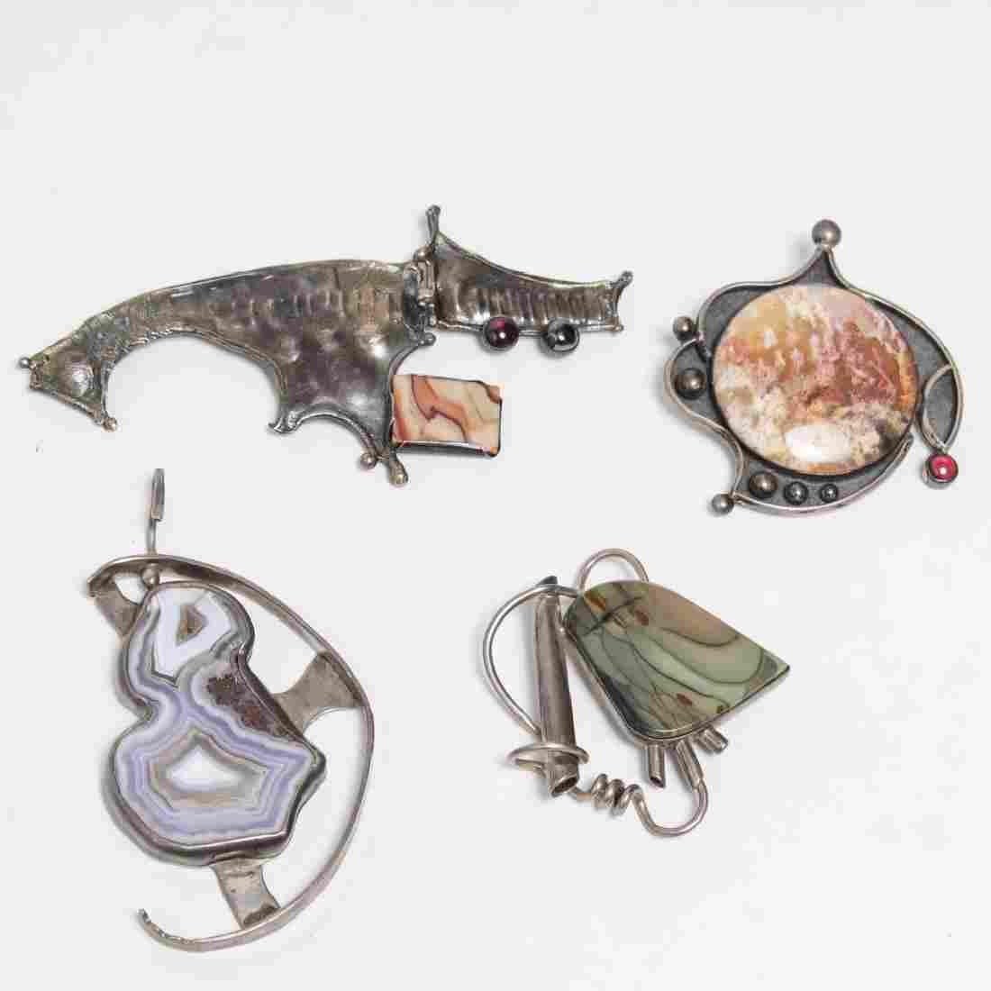 Modernist Silver & Jasper or Quartz-Set Jewlery, 4