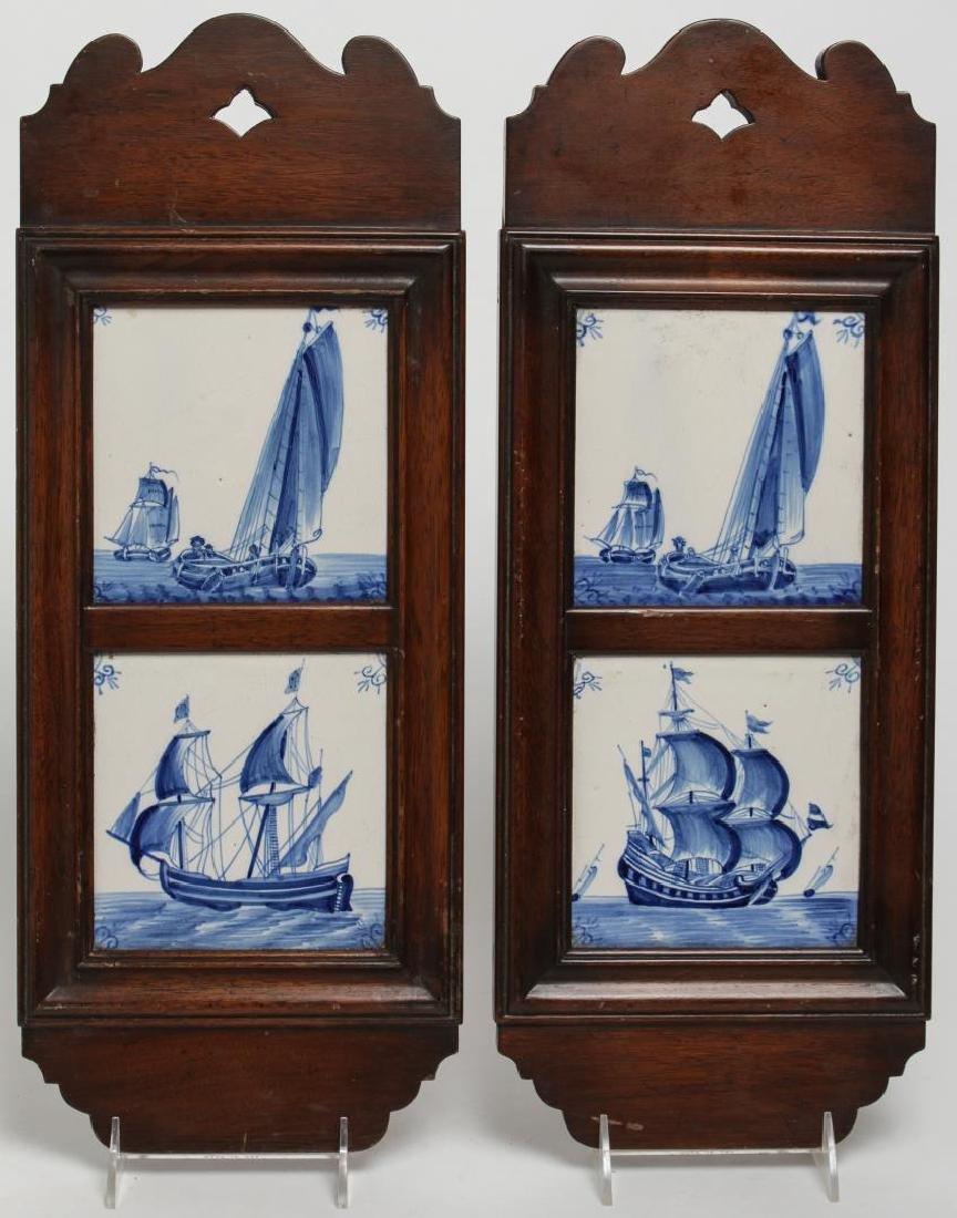 Dutch Delft Blue Ceramic Tile Plaques, Framed Pair