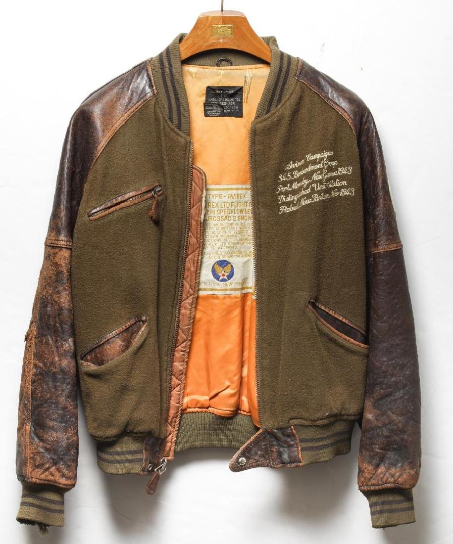 fe14b48d1 Avirex US Navy Wool & Leather Bomber Jacket, 1980s