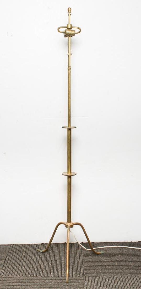 Mid-Century Modern Floor Lamp, Gilt Brass 2-Light