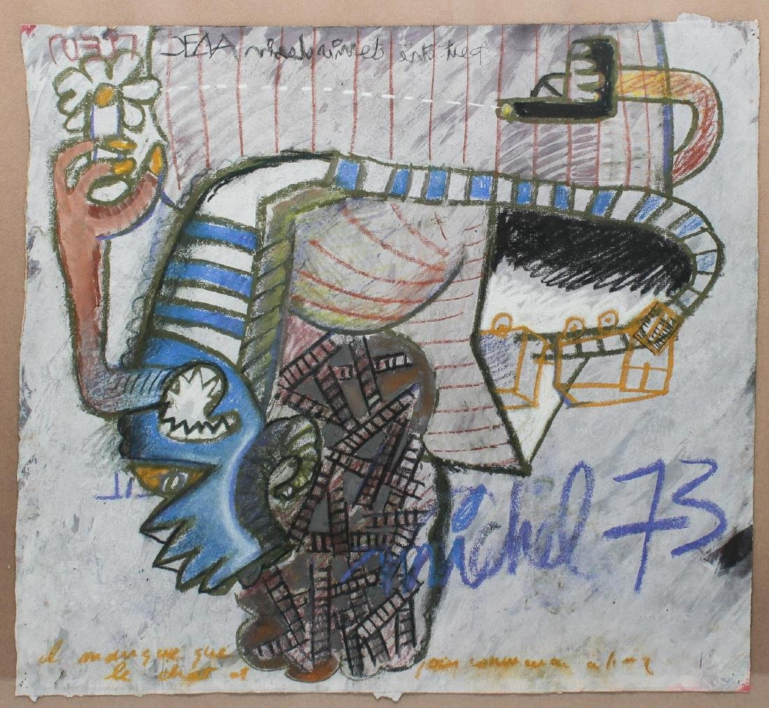Signed Michel- Abstract Mixed Media - 2