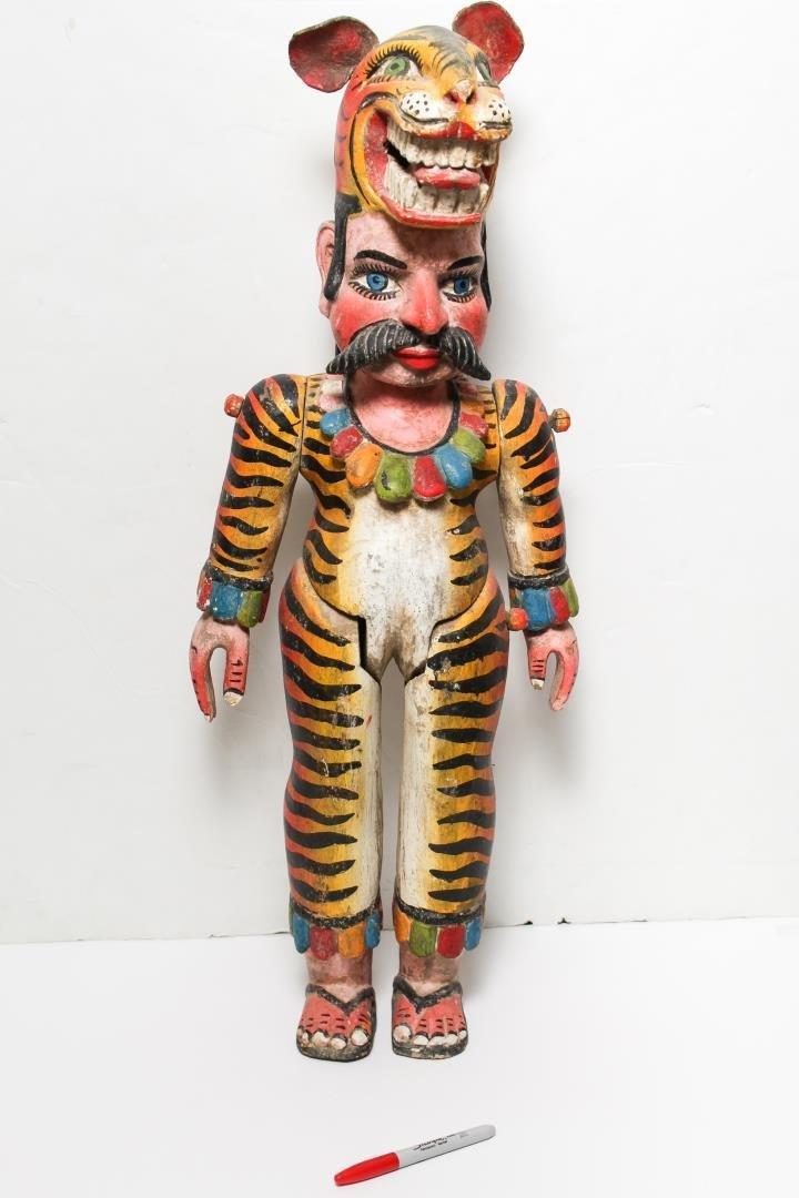 Mexican Alebrije, Folk Art Carved Wood Tiger Man