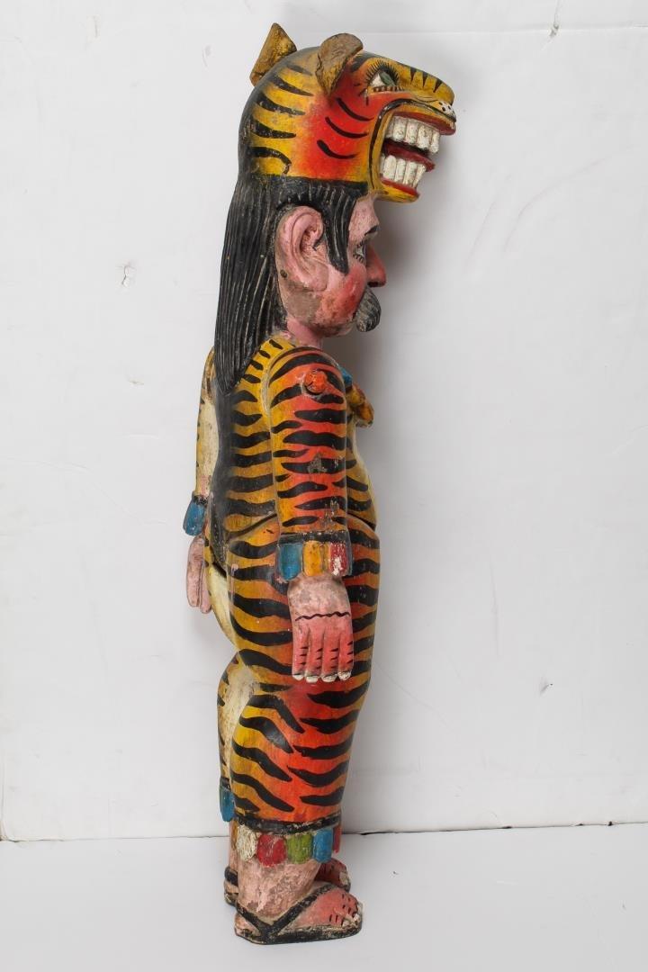 Mexican Alebrije, Folk Art Carved Wood Tiger Man - 2