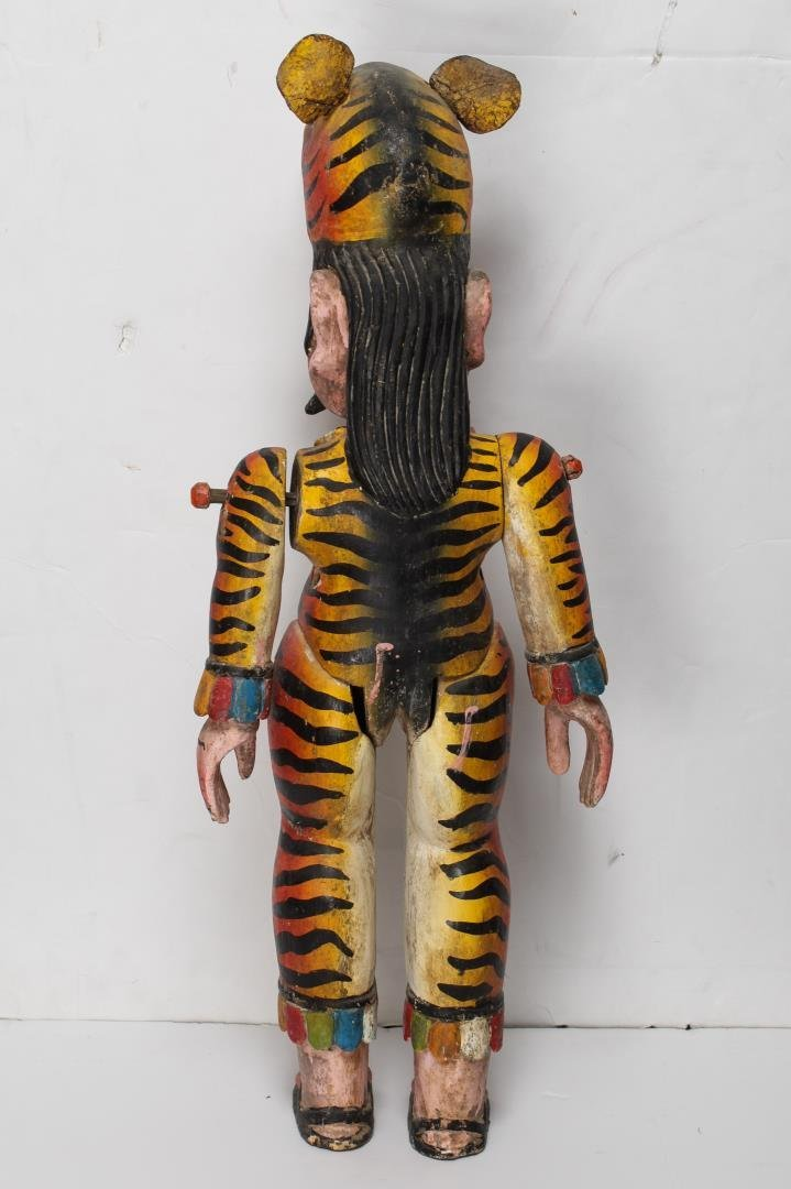 Mexican Alebrije, Folk Art Carved Wood Tiger Man - 3