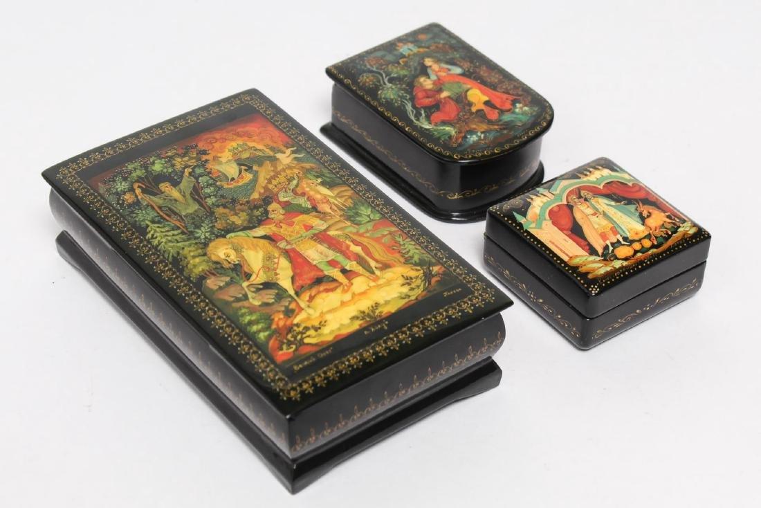 Russian Lacquer Boxes, 3 Vintage Pieces