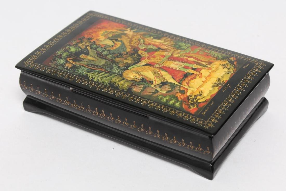 Russian Lacquer Boxes, 3 Vintage Pieces - 2