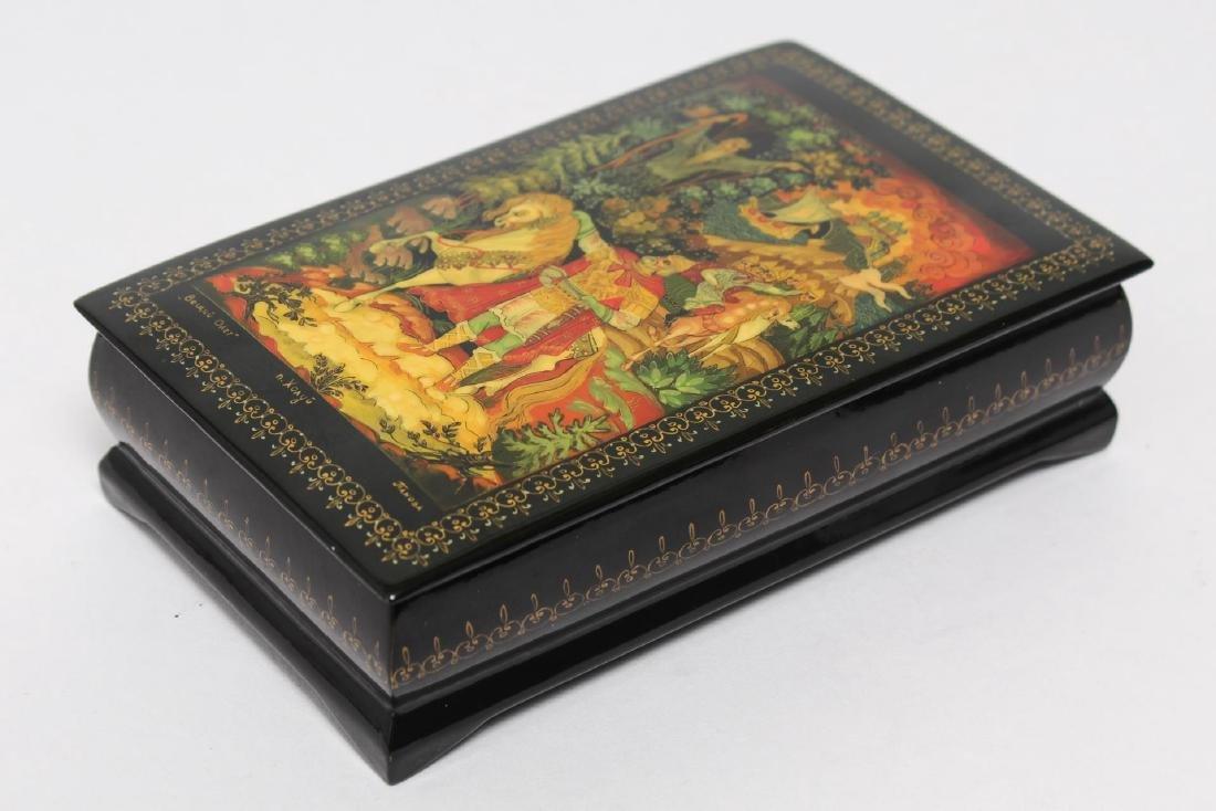 Russian Lacquer Boxes, 3 Vintage Pieces - 3