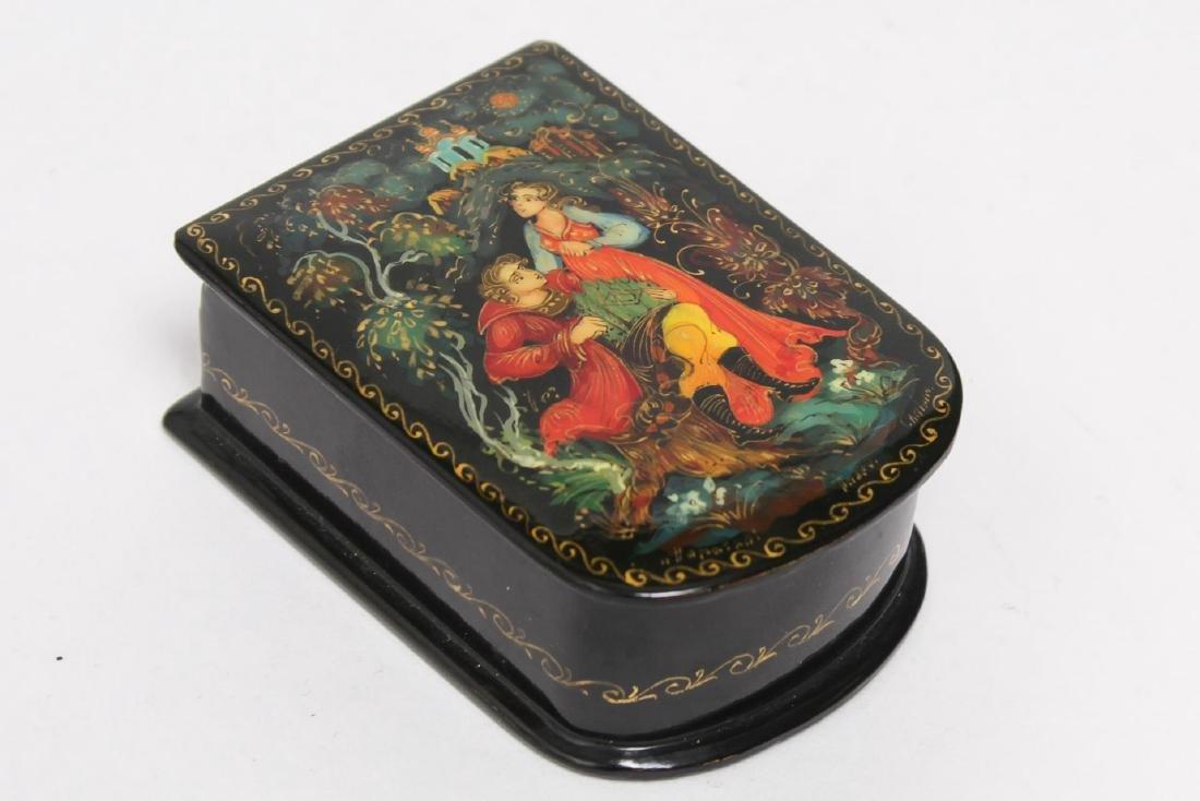 Russian Lacquer Boxes, 3 Vintage Pieces - 6