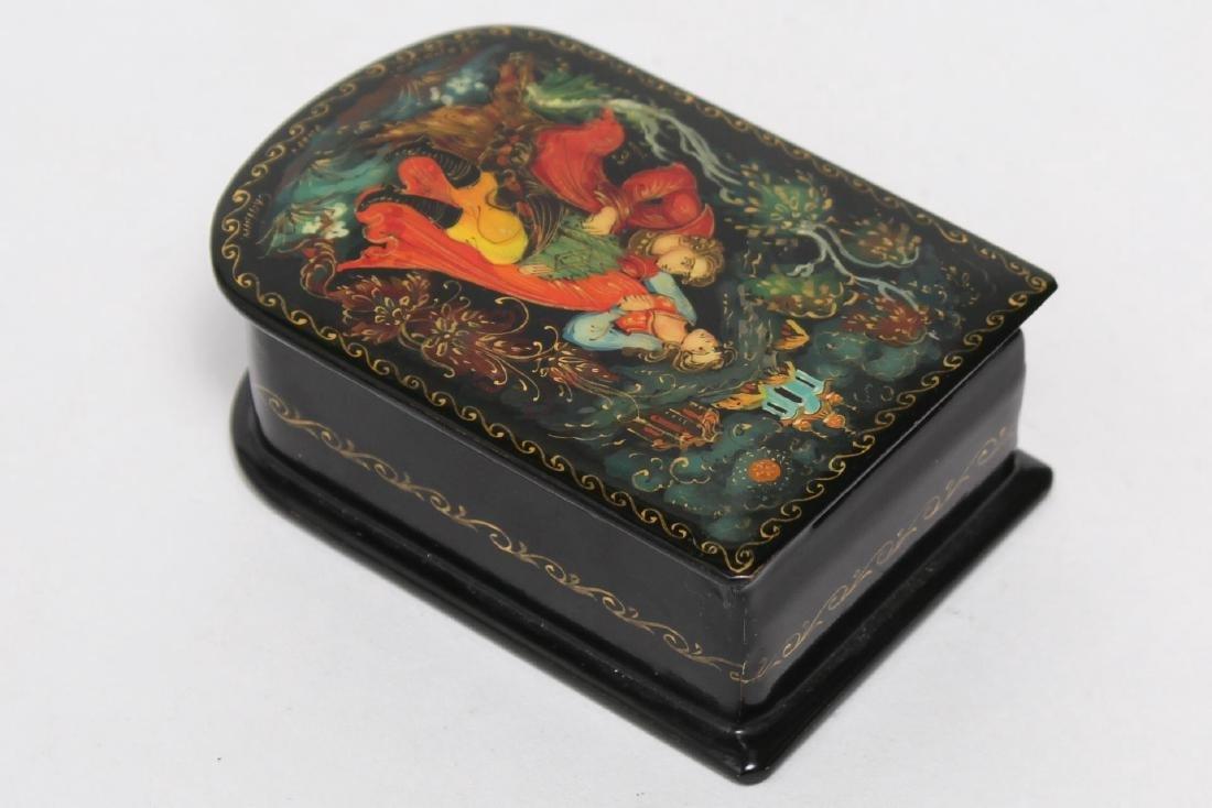Russian Lacquer Boxes, 3 Vintage Pieces - 7