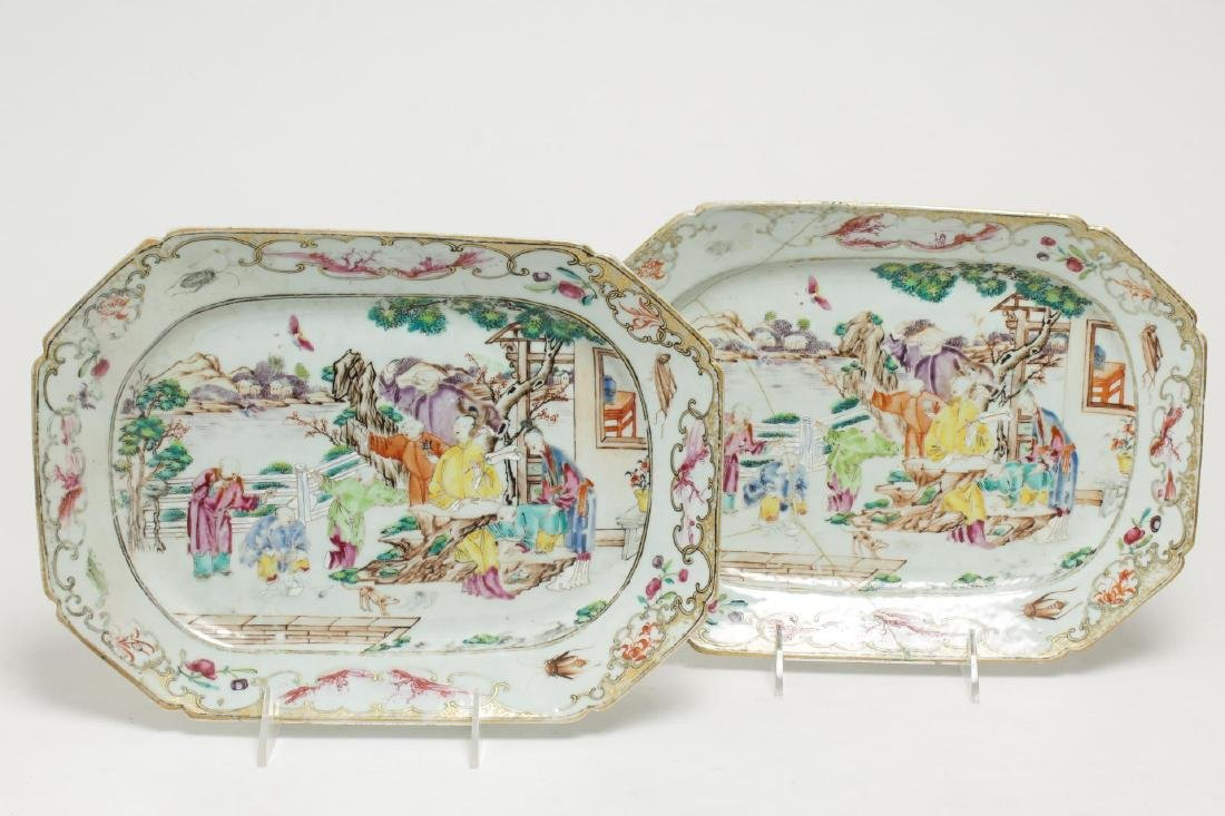 Chinese Export Porcelain Serving Trays, Antique