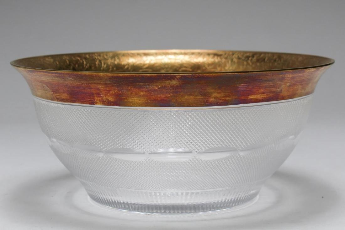 Antique Moser Crystal Bowl, with Gilt Rim - 2