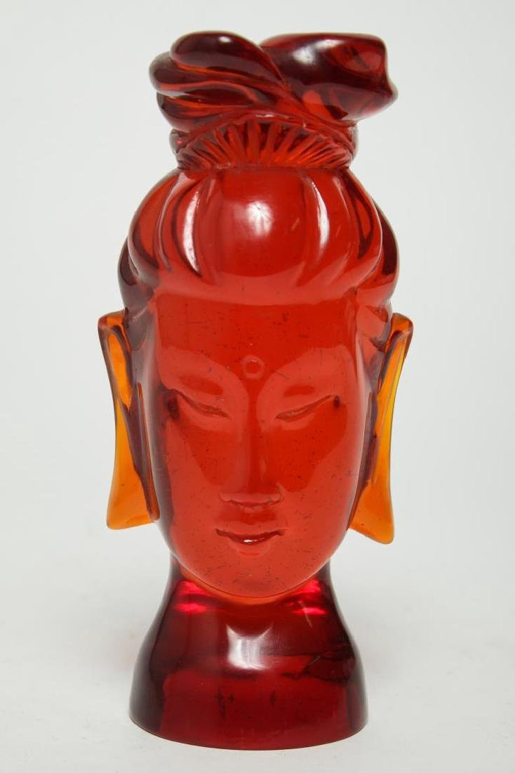 Asian Head of Guanyin, in Reconstituted Amber - 3