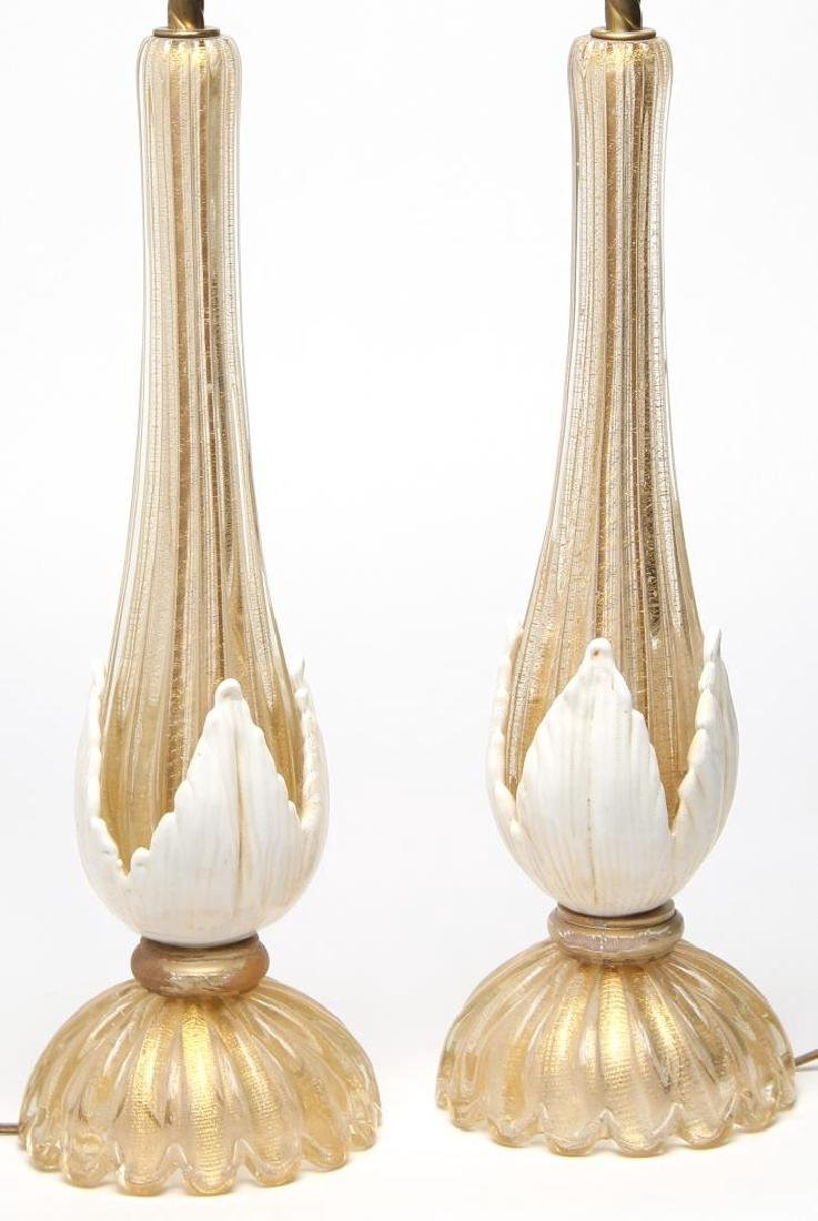 Murano Gold-Fleck Glass Lamps, Large Pair