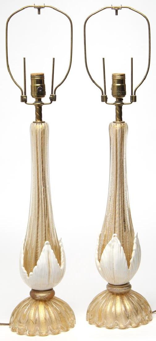 Murano Gold-Fleck Glass Lamps, Large Pair - 4