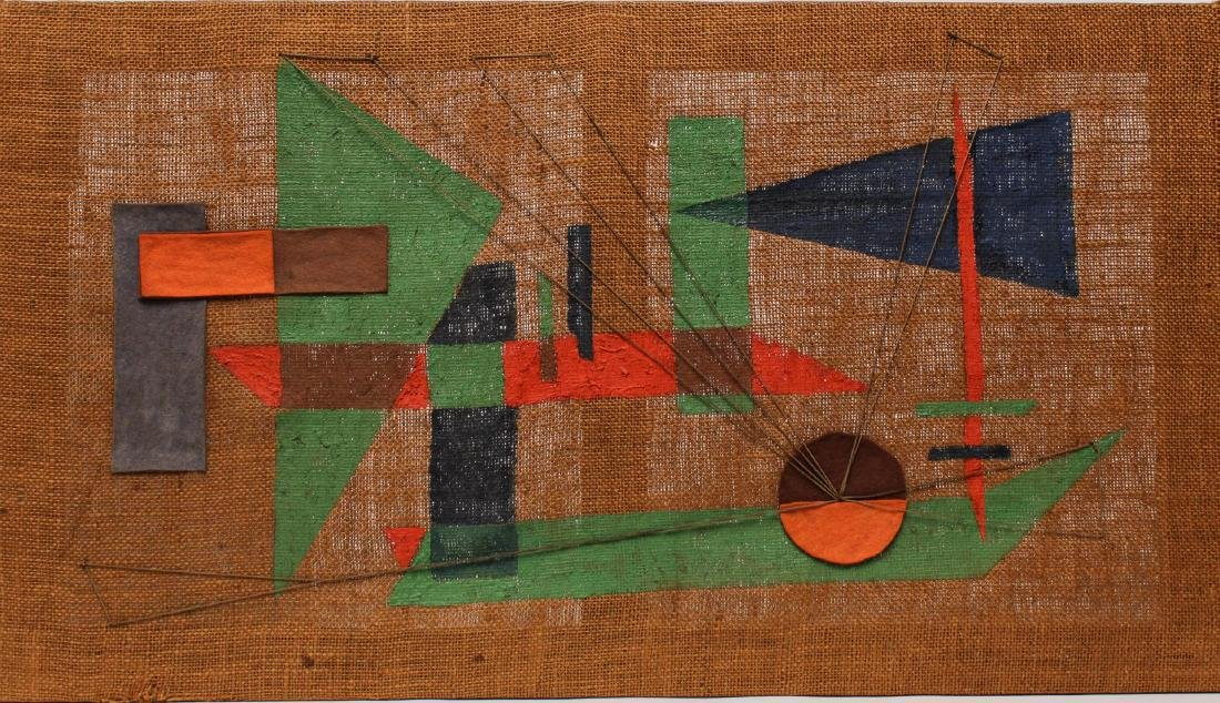 Outsider or Folk Art Painted Textile, Unsigned
