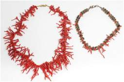 Spiny Coral & Rock Crystal Necklaces