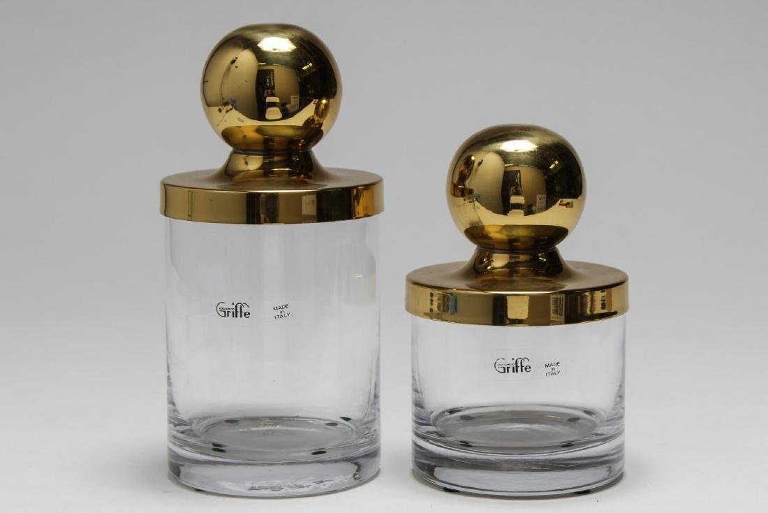 Italian Borgospesso Griffe Brass-Top Canisters, 2