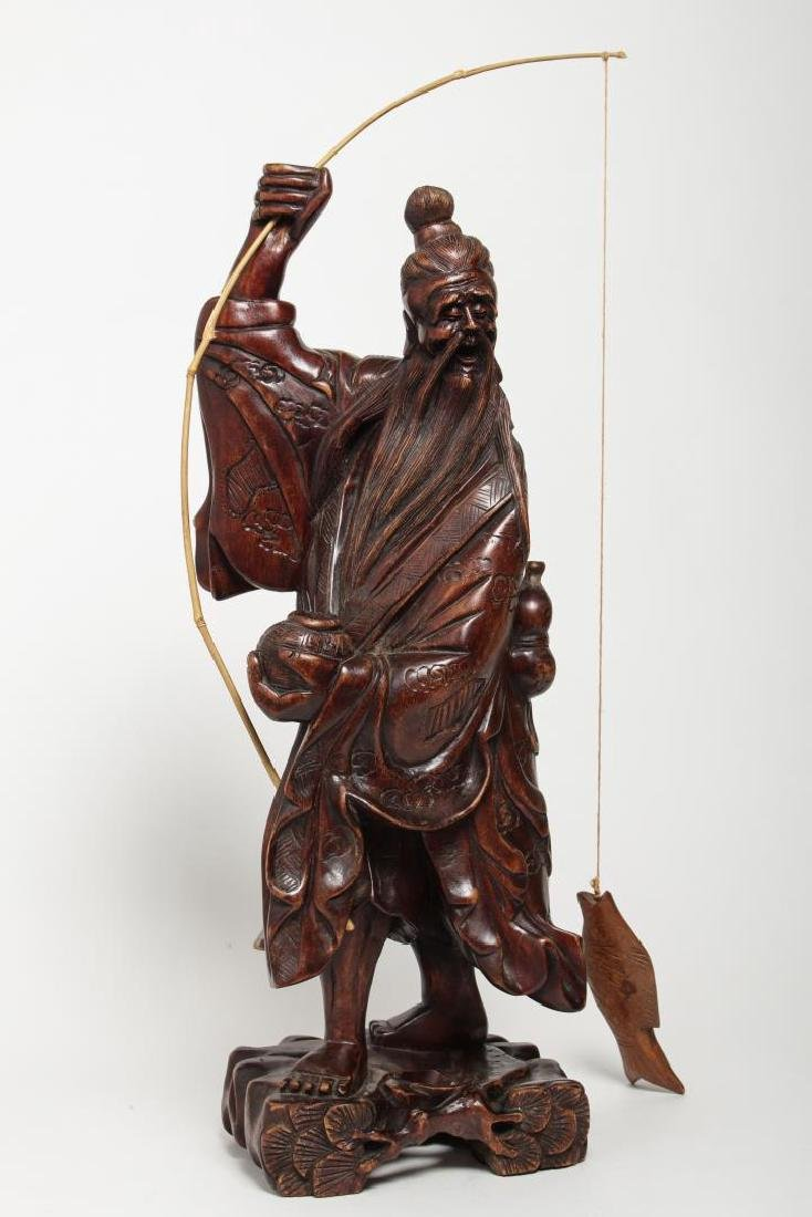 Asian Carved Wood Sculpture of Elderly Fisherman