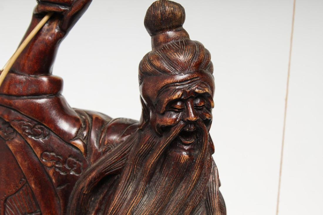 Asian Carved Wood Sculpture of Elderly Fisherman - 2