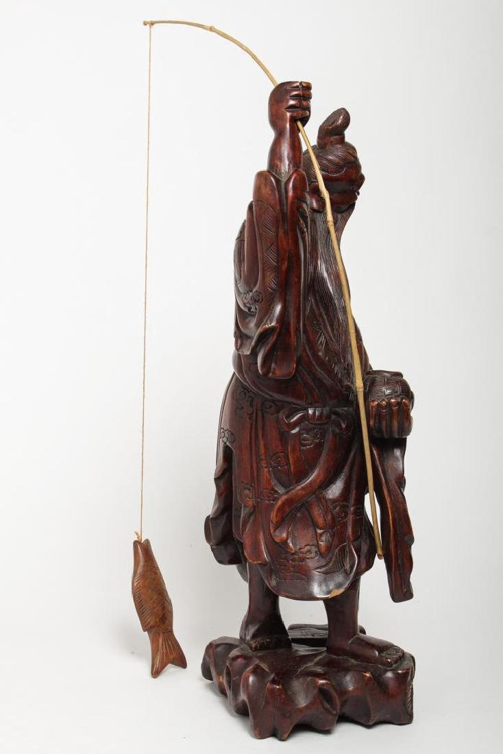Asian Carved Wood Sculpture of Elderly Fisherman - 3
