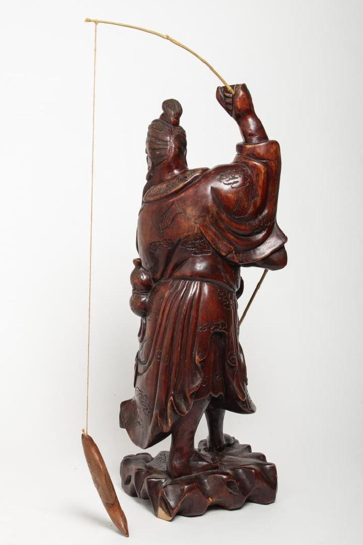 Asian Carved Wood Sculpture of Elderly Fisherman - 4