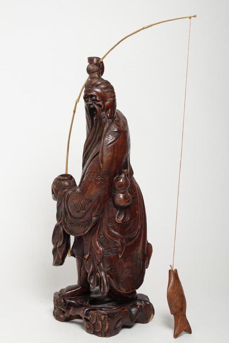 Asian Carved Wood Sculpture of Elderly Fisherman - 5