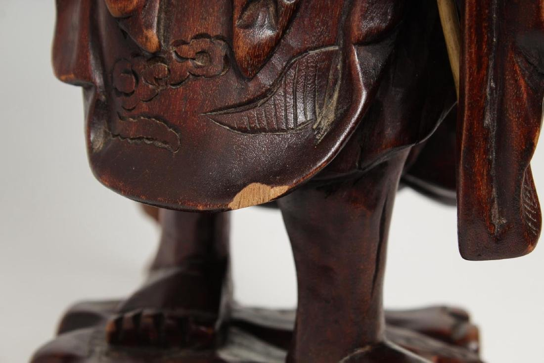 Asian Carved Wood Sculpture of Elderly Fisherman - 6