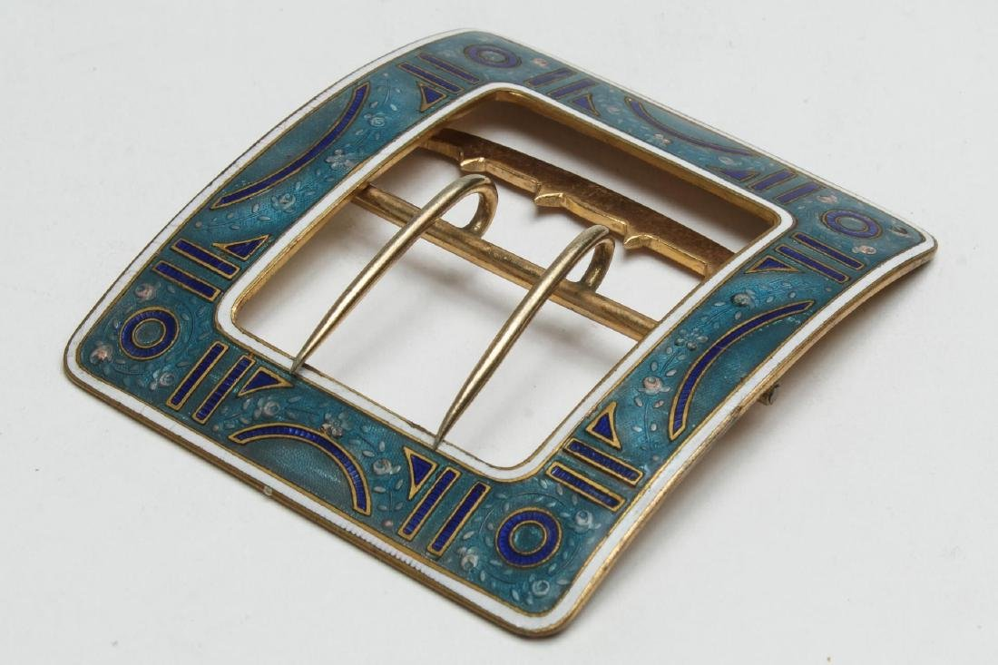 Art Deco Belt Buckle, Champleve Enameled Brass
