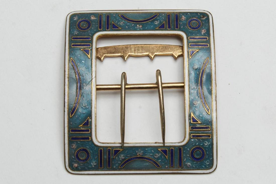 Art Deco Belt Buckle, Champleve Enameled Brass - 2