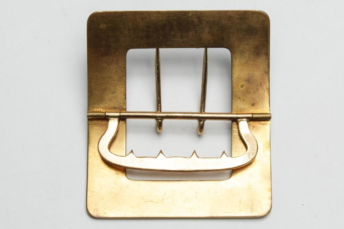 Art Deco Belt Buckle, Champleve Enameled Brass - 3