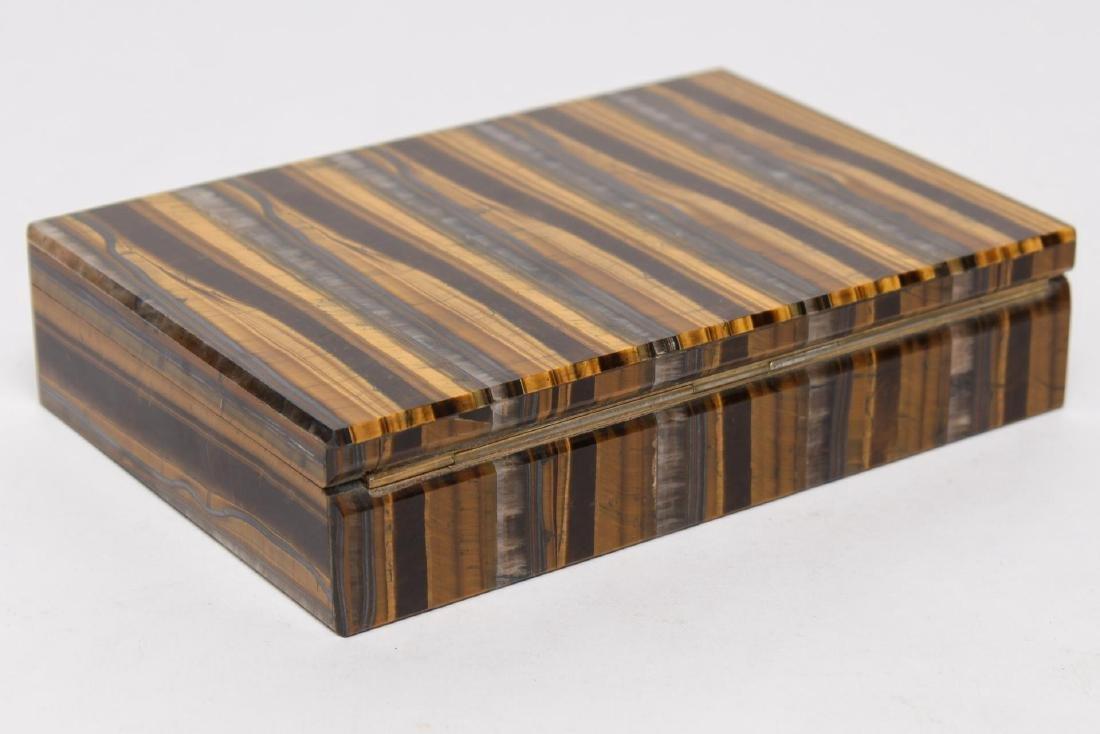 Italian Slab Tiger Eye Trinket Box, Vintage - 2
