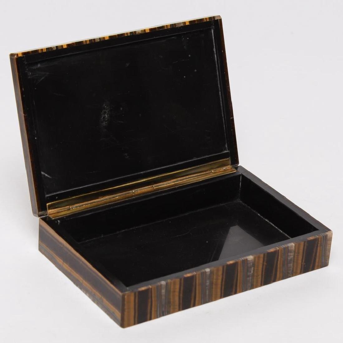 Italian Slab Tiger Eye Trinket Box, Vintage - 3