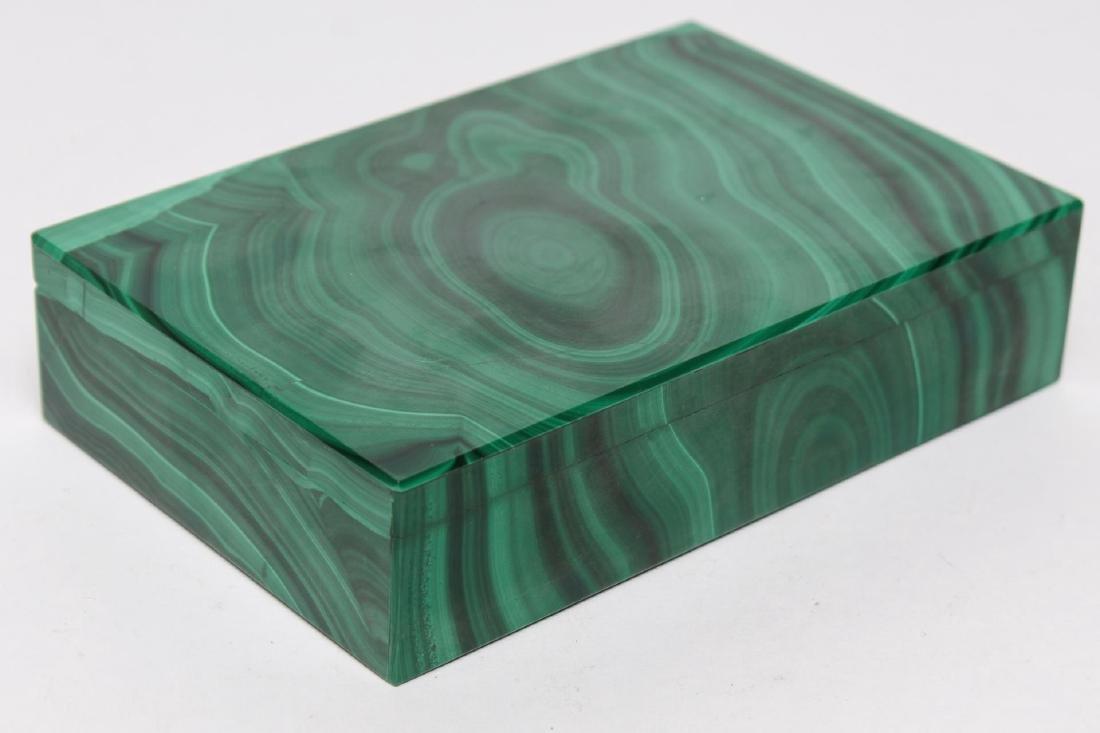 Italian Slab Malachite Trinket Box, Vintage