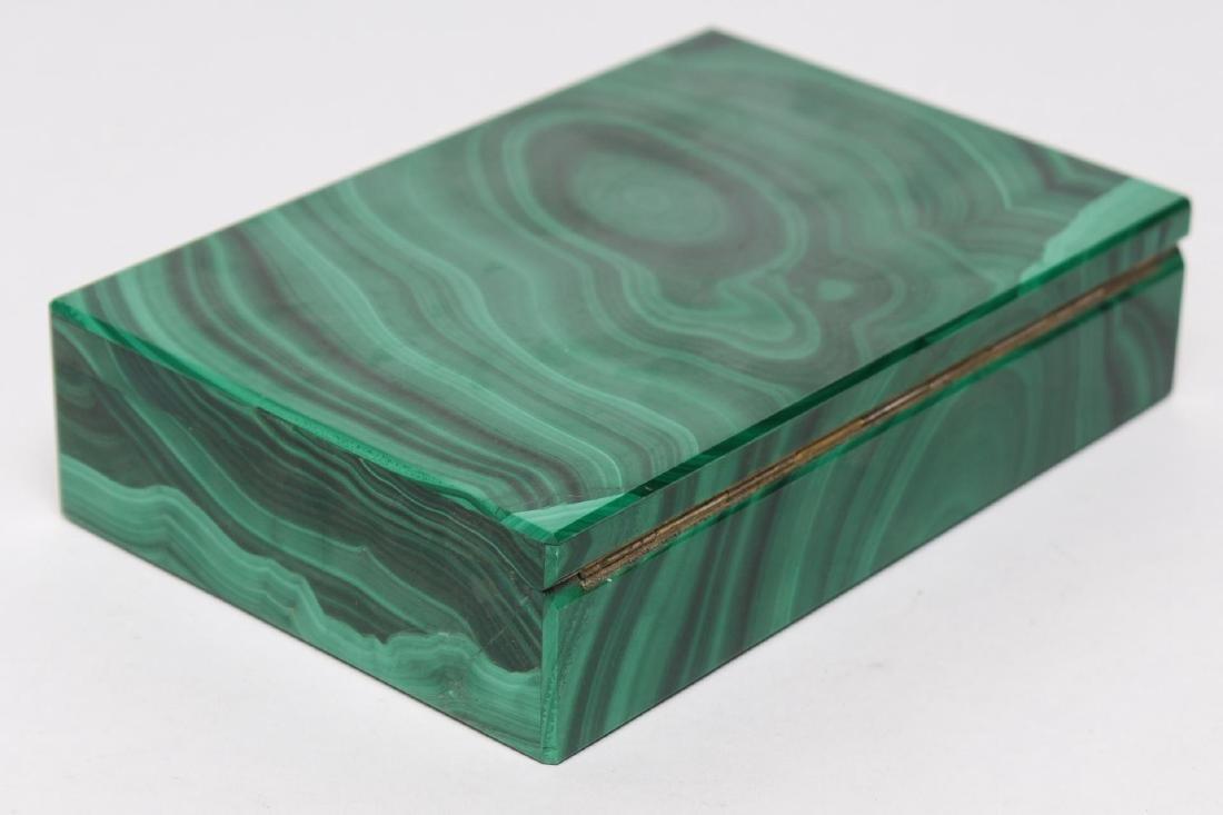 Italian Slab Malachite Trinket Box, Vintage - 2