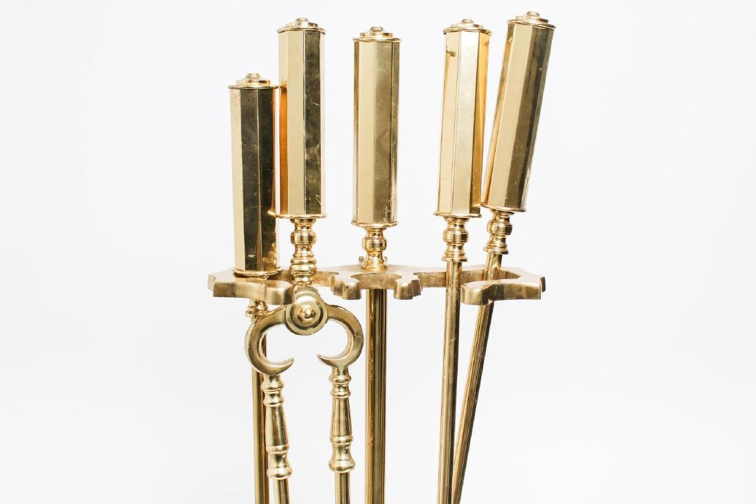 Mid-Century Modern Brass Fireplace Tools - 2